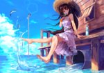 1girl barefoot black_hair commentary_request dress eyebrows_visible_through_hair fish food hat highres hopepe long_hair looking_at_viewer megaphone original popsicle red_eyes sitting solo splashing straw_hat sundress water