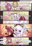 1boy 3girls >_< alternate_costume animal_ears beancurd bee beemo beer_mug blue_skin blush blush_stickers bug closed_eyes comic commentary cookie cup english fang food fork hat heart highres holding holding_cup insect laughing league_of_legends lulu_(league_of_legends) midriff multiple_girls musical_note navel open_mouth photo_(object) picture_(object) poppy purple_hair scarf speech_bubble sweatdrop table teemo text_focus translated tristana twintails watermark white_hair witch_hat yordle