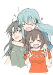 3girls :d aqua_hair blue_shirt blush_stickers breasts brown_hair cleavage double_v green_shirt hair_ornament headlock heart highres hug kantai_collection long_hair looking_at_viewer multiple_girls open_mouth orange_shirt sanpachishiki_(gyokusai-jima) sendai_(kantai_collection) shirt simple_background smile suzuya_(kantai_collection) t-shirt twintails two_side_up upper_body v white_background zuikaku_(kantai_collection) |d