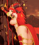 1girl against_wall alexstrasza armor arms_up ass bangs big_hair breasts brown_horns commentary dark_sky diadem embers english_commentary eyebrows_visible_through_hair fantasy gold_trim half-closed_eyes horn_ornament horns kuroonehalf light_smile long_hair looking_at_viewer looking_to_the_side molten_rock multiple_horns orange_eyes outstretched_arms personification red_hair rock shoulder_armor sideboob smile solo vambraces very_long_hair volcano warcraft world_of_warcraft