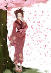 1girl adjusting_glasses artist_name bespectacled brown_hair clog_sandals closed_eyes dated fuu glasses hair_ornament hair_stick highres japanese_clothes kimono knife petals pigeon-toed samurai_champloo sheath sheathed short_hair solo standing stormcow toes tree wakizashi white_background