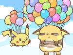 :3 annoyed balloon blue_sky cafe_(chuu_no_ouchi) cloud day flying gen_1_pokemon looking_at_another no_humans pikachu pokemon pokemon_(creature) raichu sky