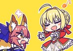 2girls :d ahoge animal_ears bare_shoulders blush_stickers braid breasts chan_co chibi cleavage closed_eyes commentary_request detached_sleeves dress eyebrows_visible_through_hair fang fate/extra fate_(series) fox_ears fox_tail hair_bun hair_intakes hair_ribbon hand_on_own_chest looking_at_another multiple_girls nero_claudius_(fate) nero_claudius_(fate)_(all) open_mouth pink_hair red_dress red_ribbon ribbon see-through simple_background smile standing tail tamamo_(fate)_(all) tamamo_no_mae_(fate) yellow_background yellow_eyes