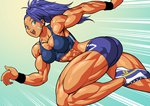 1girl :d abs armband ass bandaid bare_arms bike_shorts blue_eyes blue_hair breasts captain_mizuki commentary earrings english_commentary jewelry looking_at_viewer midriff muscle muscular_female one-punch_man open_mouth pokkuti ponytail running shoes shoulders smile sneakers solo tan wrist_cuffs wristband