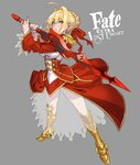 1girl ahoge bangs blonde_hair blush breasts coat commentary copyright_name epaulettes fate/extra fate_(series) full_body green_eyes grey_background hair_intakes highres holding holding_sword holding_weapon logo looking_at_viewer nero_claudius_(fate)_(all) parted_lips red_coat see-through sideboob solo standing sword weapon yamashita_shun'ya
