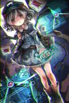 1girl ankle_boots backpack bag blue_eyes blue_hair boots dress engineer english extra_arms hair_bobbles hair_ornament hat holographic_interface kawashiro_nitori key mechanical_arms pocket sanso shirt short_hair skirt skirt_set solo touhou two_side_up