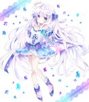 1girl absurdres bangs bare_shoulders blue_bow blue_eyes blue_footwear blue_sleeves blush bow breasts closed_mouth commentary crystal detached_sleeves detached_wings dress eyebrows_visible_through_hair full_body hair_between_eyes hair_bow hair_ornament hairclip heart heart_hair_ornament highres holding holding_wand long_hair long_sleeves looking_at_viewer medium_breasts mini_wings original pink_footwear shoes silver_hair socks solo strapless strapless_dress symbol_commentary tsukiyo_(skymint) twintails very_long_hair wand white_background white_dress white_wings wings