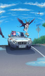 2girls ^_^ absurdres animal_ears bag bangs black_wings blouse blunt_bangs bottle bow braid brown_hair car cat_ears closed_eyes cloud day driving feathered_wings feathers flying green_skirt ground_vehicle hair_bow highres holding holding_bag holding_bottle joeychen kaenbyou_rin legs_together long_hair long_image looking_at_another looking_to_the_side motor_vehicle multiple_girls open_mouth outdoors pleated_skirt puddle puffy_short_sleeves puffy_sleeves reiuji_utsuho right-hand_drive road road_sign short_sleeves sign skirt sky smile tall_image touhou toyota toyota_sports_800 twin_braids white_blouse wings