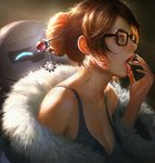 1girl bare_shoulders beads black-framed_eyewear breasts brown_eyes brown_hair cleavage coat collarbone drone fingernails from_side fur-lined_jacket fur_coat fur_trim glasses hair_bun hair_ornament hair_stick hand_to_own_mouth hand_up jpeg_artifacts large_breasts long_fingernails mei_(overwatch) off_shoulder open_clothes open_coat open_mouth overwatch parka realistic robot short_hair sidelocks snowball_(overwatch) snowflake_hair_ornament solo tank_top tongue tongue_out upper_body wang_chen winter_clothes winter_coat