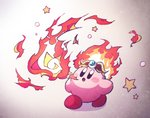 amedama_(akaki_4207) black_eyes blush breathing_fire circlet copy_ability fiery_hair fire flame gradient gradient_background kirby kirby_(series) no_humans no_nose open_mouth star