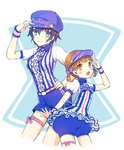 2girls adjusting_clothes adjusting_hat alternate_costume asuma_shin blue_eyes blue_hair brown_eyes brown_hair cabbie_hat doujima_nanako hat lawson leg_ribbon looking_at_viewer multiple_girls necktie persona persona_4 persona_4:_dancing_all_night ribbon shirogane_naoto short_hair shorts skirt smile twintails visor_cap waitress wristband