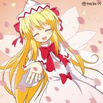 15_(tooka) 1girl ^_^ blonde_hair bow capelet closed_eyes dress fairy_wings hat lily_white open_mouth petals smile solo touhou wings