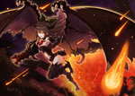 1girl :d absurdres alternate_wings arm_cannon bow brown_hair commentary dark_clouds dark_sky dragon_girl dragon_tail dragon_wings flying full_body hair_between_eyes hair_bow highres horns long_hair looking_at_viewer meteor meteor_shower monster_girl open_mouth reiuji_utsuho rin_falcon smile solo tail touhou v-shaped_eyebrows weapon wings yellow_eyes