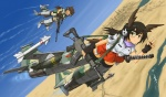 2girls adapted_uniform animal_ears assault_rifle bad_id bad_pixiv_id battle_rifle black_hair bomb brown_eyes costume_combination dakku_(ogitsune) desert f-1 full_body glasses gun head_wings howa_type_64 howa_type_89 missile multiple_girls nontraditional_miko rifle river strike_witches_1991 sword tail uniform v weapon world_witches_series