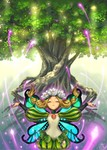 1girl blonde_hair braid butterfly_wings closed_eyes fairy flower hair_flower hair_ornament kuzuboshi_hikaru long_hair mercedes odin_sphere outstretched_arms pointy_ears solo spread_arms tree twin_braids wings
