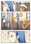 2girls :d bare_shoulders batsubyou blue_eyes blue_hair brown_hair cat comic elbow_gloves engiyoshi error_musume following girl_holding_a_cat_(kantai_collection) gloves hair_ribbon hat kantai_collection long_hair multiple_girls open_mouth pleated_skirt ribbon sailor_collar sailor_hat samidare_(kantai_collection) school_uniform serafuku skirt smile sweatdrop thighhighs v-shaped_eyebrows very_long_hair |_|