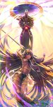 1girl :d absurdly_long_hair absurdres anubis armlet armor arms_up backlighting bangle bangs between_breasts bracelet breasts collarbone crossed_arms dark_skin earrings egyptian egyptian_clothes eyebrows_visible_through_hair facepaint facial_mark fate/grand_order fate_(series) foreshortening from_below glint glowing hair_between_breasts hair_between_eyes hair_rings hairband highres holding holding_staff hoop_earrings jewelry knees_together_feet_apart loincloth long_hair looking_at_viewer looking_down low-tied_long_hair medium_breasts multicolored multicolored_hair multicolored_hairband navel nitocris_(fate/grand_order) open_mouth pelvic_curtain petals purple_eyes purple_hair revealing_clothes see-through shin_guards showgirl_skirt smile staff stomach teeth thigh_strap thighlet tsurime twitter_username two-tone_hair two-tone_hairband underboob very_long_hair yasui_(neu032) yellow_eyes