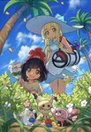 2girls alolan_exeggutor alolan_form bag beanie berries black_hair blonde_hair blue_sky braid closed_eyes cloud commentary_request cosmog cutiefly day dress duffel_bag eating flower gen_1_pokemon gen_7_pokemon grass green_eyes hat highres lillie_(pokemon) long_hair mimikyu mizuki_(pokemon) multiple_girls o0platinum0o open_mouth outdoors palm_tree petals poke_ball_theme pokemon pokemon_(creature) pokemon_(game) pokemon_on_shoulder pokemon_sm red_hat rowlet short_hair short_sleeves sky sleeping sleeveless sleeveless_dress standing stufful sun_hat togedemaru tree twin_braids white_dress white_hat