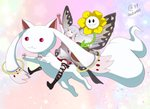 1girl :3 aerie_(bravely_default) arm_up bangs blunt_bangs bravely_default:_flying_fairy bravely_default_(series) butterfly_wings closed_eyes crossover elbow_gloves fairy fairy_wings fingerless_gloves flower flower_pot flowey_(undertale) gloves kyubey long_hair mahou_shoujo_madoka_magica minigirl multiple_crossover pointy_ears red_eyes sasha_gladysh signature silver_dress silver_hair smile trait_connection triangle_mouth undertale wings