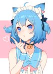 1girl absurdres ahoge animal_ears animare bangs bare_arms bare_shoulders bell bell_choker black_bow black_choker blue_eyes blue_hair bow cat_girl center_frills chestnut_mouth choker collarbone commentary_request dog_ears eyebrows_visible_through_hair eyelashes hair_bow hand_up heart highres index_finger_raised izumi_sai jingle_bell looking_at_viewer maid_headdress pink_background raised_eyebrows sketch_eyebrows solo souya_ichika two_side_up upper_body virtual_youtuber wrist_cuffs