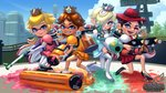 4girls black_hair blonde_hair blue_eyes brown_hair company_connection earrings eyeshadow fangs hair_over_one_eye hat ink inkling jewelry looking_at_viewer luna_blaster_(splatoon) makeup mario_(series) multicolored_hair multiple_girls octoling open_mouth pauline_(mario) princess_daisy princess_peach rosalina smile splat_charger_(splatoon) splat_dualies_(splatoon) splat_roller_(splatoon) splatoon_(series) standing suction_cups super_mario_galaxy super_mario_odyssey tentacle_hair theskywaker two-tone_hair weapon