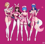 3girls 4girls :d ahri alternate_costume animal_ears animal_print arm_at_side arm_strap arm_tattoo artist_name ass_visible_through_thighs bangs bare_shoulders belt blonde_hair blue_eyes blue_hair blunt_bangs blush bow bow_legwear breasts brown_eyes brown_hair bunny_ears bunny_print choker citemer cleavage cleavage_cutout clipboard closed_mouth collarbone collared_dress commentary contrapposto corset cowboy_shot cross cross_print crossover d.va_(overwatch) detached_collar dress elbow_gloves english eyelashes eyes_visible_through_hair facepaint facial_mark fake_animal_ears fingernails fish flipped_hair fox_ears fox_tail full_body garter_straps gloves gradient groin hair_between_eyes hair_bow hair_ornament hair_over_one_eye hair_ribbon hairclip hairpin hand_on_hip hand_on_hips hand_on_own_chest hand_up hat headphones heart heart_choker heart_hair_ornament high_collar high_heels high_ponytail highleg highres hips holding holding_clipboard holding_syringe kneehighs lace lace-trimmed_legwear large_breasts league_of_legends leg_garter leg_ribbon legs legs_apart legs_together leotard lips lipstick logo long_fingernails long_hair long_sleeves looking_at_viewer makeup medium_breasts mercy_(overwatch) multiple_crossover multiple_girls nail_polish neck_ribbon nose nurse nurse_cap open_mouth overwatch pantyhose parted_bangs parted_lips patch pink_background pink_belt pink_bow pink_dress pink_hat pink_lips pink_lipstick pink_nails pink_ribbon pink_shoes ponytail purple_background purple_ribbon re:zero_kara_hajimeru_isekai_seikatsu red_cross red_leotard red_nails rem_(re:zero) ribbon round_teeth shoes short_dress short_hair short_ponytail short_wings shoulder_pads side_slit sidelocks signature simple_background single_wing skindentation sleeveless sleeveless_dress smile standing strapless strapless_leotard strappy_heels swept_bangs syringe tail tassel tattoo taut_clothes taut_dress teeth test_tube thigh_strap thighhighs thighs upper_teeth watermark whisker_markings white_bow white_choker white_gloves white_legwear white_wings wing_collar wings wrist_cuffs x_hair_ornament yellow_eyes