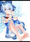 1girl absurdres barefoot bloomers blouse blue_dress blue_eyes blue_hair blue_ribbon bow cirno commentary_request dress dress_shirt feet hair_bow highres ice ice_wings nagatsuki_take red_bow red_ribbon ribbon shirt short_hair simple_background smile soles solo toes touhou underwear white_background white_shirt wings