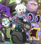1girl bare_shoulders bass_guitar blue_eyes boots fangs freckles green_hair guitar hair_bobbles hair_ornament homika_(pokemon) instrument koffing looking_at_viewer loudred meloetta open_mouth plectrum pokemoa pokemon pokemon_(game) pokemon_bw2 smile standing