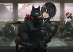 androgynous black_armor black_cat black_hair blurry blurry_background cat city_guard_(infukun) commentary_request eye_contact facial_mark forehead_mark gauntlets gloves holding holding_cat indoors infukun long_sleeves looking_at_another pixiv_fantasia pixiv_fantasia_last_saga red_eyes red_gloves short_hair signature sitting skewer standing table window yellow_eyes