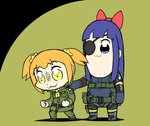 2girls :3 big_boss big_boss_(cosplay) bkub_(style) black_hair blonde_hair blue_eyes bow cosplay eyepatch hair_bow hand_on_another's_shoulder jotace kazuhira_miller kazuhira_miller_(cosplay) long_hair metal_gear_(series) metal_gear_solid multiple_girls pipimi poptepipic popuko sidelocks sneaking_suit two-tone_background two_side_up yellow_eyes