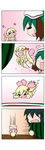 /\/\/\ 2girls 4koma :d =_= >_< absurdres alternate_costume animal_ears black_hair blonde_hair bow chibi closed_eyes comic dog_ears falling flying food fruit green_eyes hair_bow hair_ornament hair_ribbon heart highres kasodani_kyouko lily_white long_hair multiple_girls murasa_minamitsu o_o open_mouth petals rakugaki-biyori ribbon short_hair silent_comic size_difference smile solid_circle_eyes sweatdrop touhou towel watermelon wet wings xd