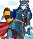 1girl a_meno0 animal_ears blue_dress blue_eyes blue_hair cape commentary_request dress falchion_(fire_emblem) fingerless_gloves fire_emblem fire_emblem:_kakusei from_below gloves hair_between_eyes holding holding_sword holding_weapon long_hair lucina raccoon_ears raccoon_tail red_cape ribbed_legwear shoulder_armor sleeve_cuffs smile strap super_smash_bros. super_smash_bros._ultimate sword tail tiara weapon