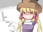 1girl blonde_hair breast_conscious commentary empty_eyes flat_chest hair_ribbon hammer_(sunset_beach) hat heart long_hair looking_at_viewer moriya_suwako ribbon sidelocks solo symbol_ricochet touhou translated upper_body yellow_eyes