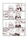 ... 3girls 4koma ahoge anger_vein blush book censored closed_eyes comic double_bun greyscale hairband heart hibiki_(kantai_collection) holding holding_book jitome kantai_collection kongou_(kantai_collection) long_hair monochrome mosaic_censoring multiple_girls open_mouth smile spoken_ellipsis suzuya_(kantai_collection) thought_bubble throwing translated yua_(checkmate)
