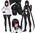 1girl ass black_hair black_legwear blush bodysuit breasts character_sheet closed_mouth domino_mask eyebrows_visible_through_hair full_body ishimiso_(ishimura) large_breasts looking_at_viewer mask multiple_views original pantyhose pencil_skirt red_eyes shiny shiny_clothes skirt spandex superhero wide_hips