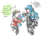 azumarill baseball_cap blue_hair commentary crossover english gold_(pokemon) gun hat marill njike personification pokemon pokemon_(game) pokemon_hgss pokemon_rse poking scarf tactical_clothes twitch_plays_pokemon weapon
