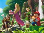 2boys 2girls arrow bag blonde_hair blue_eyes boots bow_(weapon) brown_hair coat facial_hair fire_flower forest gloves knee_boots link long_hair mario mario_(series) master_sword mauricio_abril multiple_boys multiple_girls mushroom mustache nature nintendo outdoors parody pointy_ears princess_peach princess_zelda quiver shield short_hair style_parody super_mario_bros. super_mario_rpg super_mushroom sword the_legend_of_zelda tiara tunic water waterfall weapon