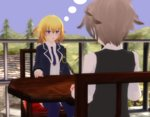 1boy 1girl 3d ahoge back bangs blonde_hair blush blush_stickers braid breasts brown_hair command_spell commentary couple eyebrows_visible_through_hair fate/apocrypha fate_(series) hand_on_table hetero jacket jeanne_d'arc_(fate) jeanne_d'arc_(fate)_(all) large_breasts long_braid long_hair long_sleeves looking_at_another necktie open_clothes open_jacket purple_eyes purple_jacket purple_legwear purple_neckwear sansei_gomesu shirt short_hair sieg_(fate/apocrypha) single_braid sitting table thighhighs thighs thinking uniform waistcoat white_shirt