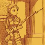 1girl bayonet buttons gun hat highres kageng long_hair military military_uniform musket original sketch soldier solo uniform weapon yellow_theme
