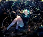 androgynous bubble crack gem_uniform_(houseki_no_kuni) gold green_eyes green_hair highres houseki_no_kuni looking_at_viewer nana_colors necktie phosphophyllite short_hair shorts solo