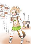 +_+ 3girls :d american_beaver_(kemono_friends) animal_ears antenna_hair bare_shoulders beaver_ears beaver_tail bike_shorts black-tailed_prairie_dog_(kemono_friends) black_bra black_gloves blush bow bow_bra bra brown_eyes check_translation chibi chinese_commentary closed_mouth commentary_request crossed_arms dated drooling elbow_gloves full_body fur_collar gloves green_bow green_skirt grey_hair hair_ornament hairclip hands_together hands_up highres holding if_they_mated imagining ips_cells kemono_friends light_brown_hair long_sleeves looking_afar looking_at_another miji_doujing_daile mother_and_daughter multicolored_hair multiple_girls navel open_mouth parent_and_child plaid plaid_skirt prairie_dog_ears prairie_dog_tail shoe_bow shoes short_hair shorts shorts_under_shorts skirt smile sparkle stomach sweater tail thighhighs thought_bubble translation_request two-tone_hair underwear v-shaped_eyebrows v_arms vest white_bra white_gloves white_hair white_legwear zettai_ryouiki