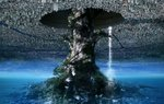 akai_ronii building city city_lights cityscape commentary fantasy giant_tree highres hole moss no_humans original river scenery skyscraper tree water waterfall