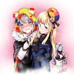 /\/\/\ 3girls animal_ears animal_hood bangs beret black_bow black_capelet black_dress blonde_hair blue_coat blush bow brown_gloves cape capelet closed_eyes closed_mouth collared_dress commentary_request dandhun_puku dress eyebrows_visible_through_hair fake_animal_ears fate_(series) fringe_trim gloves golem gray_(lord_el-melloi_ii) green_eyes grey_skirt grin hair_between_eyes hair_bow hat head_tilt highres hood hood_up juliet_sleeves long_hair long_sleeves lord_el-melloi_ii_case_files maid_headdress multiple_girls parted_lips puffy_sleeves red_bow reines_el-melloi_archisorte signature silver_hair skirt smile sweat thumbs_up tilted_headwear trimmau very_long_hair
