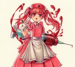 1girl :o apron bangs blood dress earrings gloves hand_up highres jewelry looking_at_viewer marker_(medium) moguo nurse original oversized_object pen pinafore_dress pink_apron pink_shirt red_eyes red_hair shirt simple_background standing stud_earrings syringe traditional_media white_background white_gloves