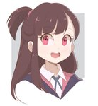 1girl :d asymmetrical_bangs bangs blunt_bangs border brown_hair chocomiru cloak collared_shirt commentary cropped_neck dress_shirt english_commentary eyebrows_visible_through_hair eyelashes grey_background kagari_atsuko little_witch_academia long_hair looking_at_viewer luna_nova_school_uniform open_mouth outside_border ponytail portrait raised_eyebrows red_eyes round_teeth school_uniform shirt sidelocks simple_background sketch_eyebrows smile solo teeth white_border white_shirt wing_collar witch