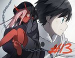 1boy 1girl black_hair blue_eyes couple crying crying_with_eyes_open darling_in_the_franxx green_eyes hiro_(darling_in_the_franxx) horns long_hair pink_hair red_skin short_hair signature tears toma_(norishio) zero_two_(darling_in_the_franxx)