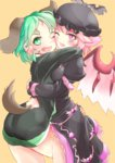 2girls alternate_costume animal_ears ass bird_wings black_dress cheek-to-cheek choujuu_gigaku dress fang green_eyes green_hair hat juliet_sleeves kasodani_kyouko leg_between_thighs long_sleeves multiple_girls mystia_lorelei nama_shirasu one_eye_closed open_mouth pink_eyes pink_hair puffy_sleeves smile tail touhou wide_sleeves