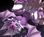 1boy 1girl animal_ears ass_grab bar_censor bat_ears bat_wings bestiality black_sclera blush breasts censored colored_eyelashes dark_harpy dragon_quest dragon_quest_xi eyelashes fangs harpy large_breasts legs_up monster_girl motion_lines nipples nollety open_mouth penis pointless_censoring purple_skirt purple_tongue purple_wings pussy sex skirt solo_focus sweat talons tears tongue vaginal white_eyes wings