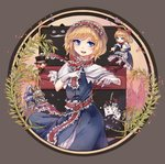 1girl >o< absurdres alice_in_wonderland alice_margatroid apron arms_up asymmetrical_bangs bangs black_border black_hat blonde_hair blue_bow blue_dress blue_eyes border bow bowtie capelet card character_request chinese_commentary clenched_teeth commentary_request cowboy_shot crown diamond_(symbol) dress epaulettes evil_grin evil_smile eyebrows_visible_through_hair eyelashes facial_hair floating frilled_apron frilled_dress frilled_hairband frilled_sash frills grey_background grin hair_bow hairband hand_on_own_stomach hat hat_bow hat_feather heart helmet highres holding holding_sword holding_weapon long_hair looking_afar looking_at_viewer mad_hatter matching_shanghai mofashi_beibei mustache open_mouth parted_bangs petticoat pigeon-toed pixelated pixels plant playing_card pointing pointing_forward rapier red_bow red_hairband red_neckwear red_sash red_scarf sash scarf shanghai_doll short_hair slit_pupils smile solo spade_(shape) string sword teeth tongue top_hat touhou two-tone_background upper_teeth waist_apron weapon  _ 