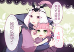2girls animal_ears annie_hastur beancurd breasts cat_ears chinese cleavage emilia_leblanc feathers green_eyes hand_on_another's_head hug league_of_legends multiple_girls open_mouth pink_eyes pink_hair translated white_hair